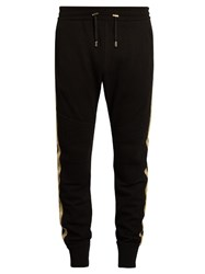 Balmain Stripe Detail Wool Blend Knit Track Pants Black