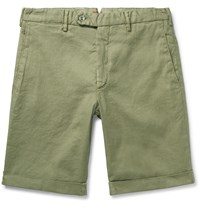 Zanella Chase Stretch Linen And Cotton Blend Shorts Green