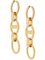 Emilio Pucci Logo Engraved Chain Drop Earrings Gold