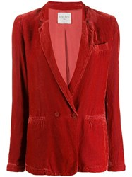 Forte Forte Ribbed Double Breasted Blazer Red