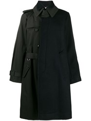 Sacai Asymmetric Belted Trench Coat Blue