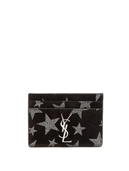 Saint Laurent Star Suede Cardholder Black Silver