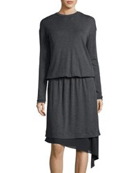 Brunello Cucinelli Chiffon Trim Wool Sweaterdress Dark Gray