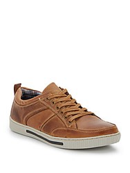 Steve Madden Paneled Leather Sneakers Tan Leather