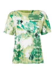 Tigi Cap Sleeve Print Jersey Top Green
