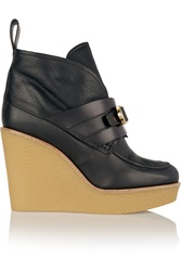 Chloe Shearling Lined Leather Wedge Ankle Boots