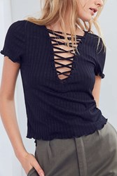 Project Social T Amelia Lace Up Tee Black