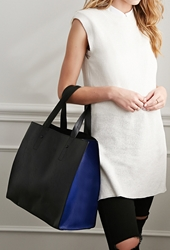 Forever 21 Colorblock Faux Leather Tote Black Navy