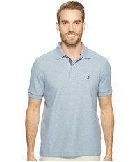 Nautica Short Sleeve Solid Deck Shirt Deep Anchor Heather Men's Short Sleeve Knit Blue