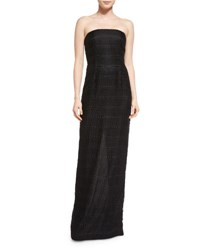 Carmen Marc Valvo Strapless Lace Bustier Column Gown Black