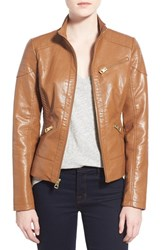 Women's Guess Quilt Detail Faux Leather Stand Collar Jacket