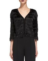 Whistles Sparkle Fringe Cardigan Black