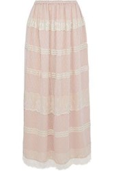Red Valentino Paneled Chantilly Lace And Point D'esprit Maxi Skirt Blush