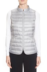 Lafayette 148 New York Frosted Quilted Vest Zinc