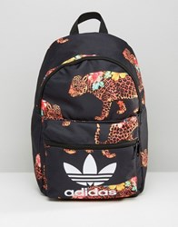 Adidas Originals X Farm Multi Leopard Print Backpack With Trefoil Logo Multicolour