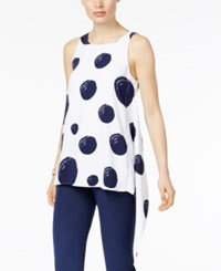 Alfani Printed Asymmetrical Tank Top Only At Macy's White Navy Brushed Dot