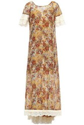 Anna Sui Woman Broderie Anglaise Trimmed Printed Cotton And Silk Blend Midi Dress Camel