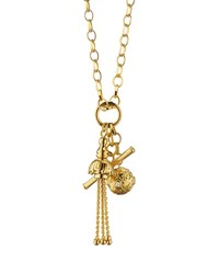 Monica Rich Kosann 18K Gold Tassel Toggle Ball Charm Necklace Unassigned