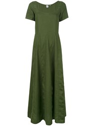 Aspesi Flared Panelled Dress Women Linen Flax 40 Green