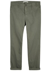 Norse Projects Aros Green Cotton Twill Chinos Olive