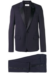 Saint Laurent Peaked Lapel Two Piece Suit Blue