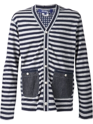 Junya Watanabe Comme Des Garcons Man Striped Cardigan Blue