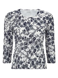 Eastex Printed Lace Scoop Neck Top Multi Coloured