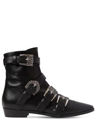 Etro 20Mm Buckled Leather Ankle Boots Black