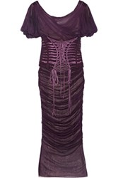 Dolce And Gabbana Lace Up Ruched Silk Tulle Dress Grape