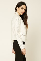 Forever 21 Laced Faux Leather Moto Jacket