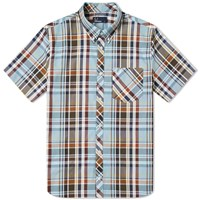 Fred Perry Madras Check Button Down Shirt Blue
