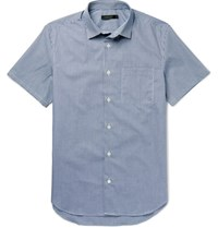 Calvin Klein Collection Relic Gingham Cotton Shirt Navy