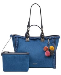 Nine West Trixie Large Tote Blue Silver