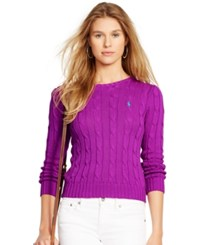 Polo Ralph Lauren Cable Knit Cotton Sweater Purple Cactus Flower