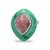 Bellus Domina Adjustable Jasper And Malachite Cocktail Ring Green