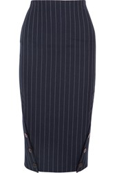 Victoria Beckham Pinstriped Wool Pencil Skirt Navy