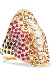 Venyx 18 Karat Gold Multi Stone Ring Gold Pink