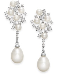 Arabella Cultured Freshwater Pearl And Swarovski Zirconia Drop Earrings In Sterling Silver 4 And 8Mm