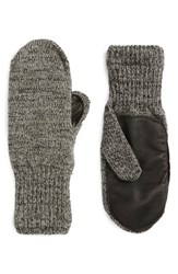 Men's Upstate Stock 'Ragg' Wool Blend Knit Mittens With Deerskin Leather Trim Grey Black Charcoal