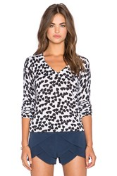 Equipment Cecile Endless Heart Print V Neck Sweater Ivory
