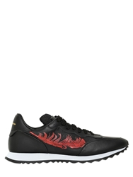 Alexander Mcqueen Feather Printed Leather Running Sneakers Black