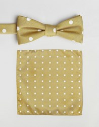 Selected Homme Bow Tie And Pocket Square Set Yellow
