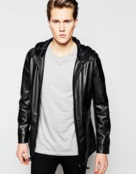 Barney's Faux Leather Long Parka Jacket Black
