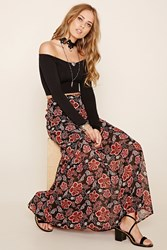 Forever 21 Floral Print Tiered Skirt