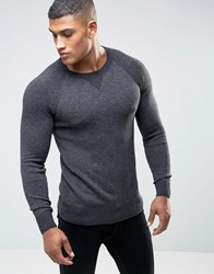 Abercrombie And Fitch Crew Jumper Retro Slub Knit In Grey Dark Grey