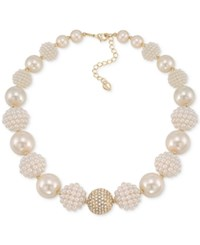 Carolee Gold Tone Imitation Pearl And Fireball Collar Necklace