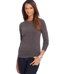 Jm Collection Petite Crew Neck Button Sleeve Sweater Only At Macy's Charcoal Heather