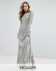 A Star Is Born Long Sleeved Maxi Dress With Allover Embellishment Silver