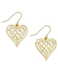 Macy's Openwork Heart Drop Earrings In 10K Gold Yellow Gold