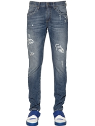 Dirk Bikkembergs 16.5Cm Distressed Cotton Denim Jeans Blue